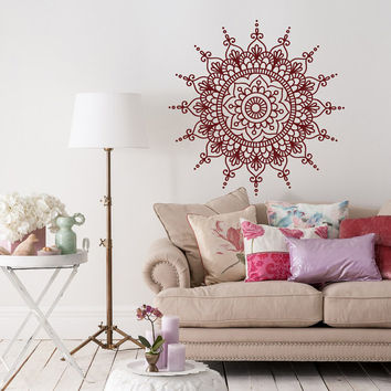 Wall Decal Mandala Vinyl Stickers- Mandala Wall Decal Murals- Yoga Studio Decor Bohemian Boho Bedroom Tribal Wall Art- Mandala Wall Art #23