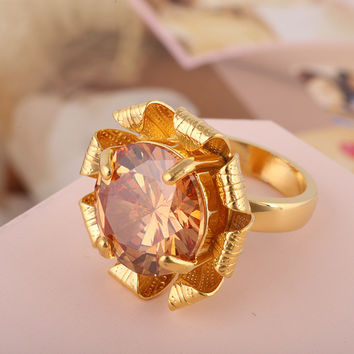 Shiny Gift New Arrival Stylish Fashion Accessory Gold Floral Jewelry Ring [4989646660]