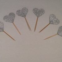 Glittered Heart cupcake toppers.  18 per order.