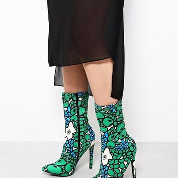 Floral Print Green Ankle Boots