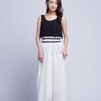 High Waist Wedding Skirt Chiffon Long Skirts Beautiful Elastic Waist Summer Skirt Floor Length Beach Skirt (201) 5#