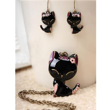 H9 Fashion Animal Cat Jewelry Sets Cute Kitten Pendant Necklace and Drop Earrings For Women Statement Jewelry Set Birthday Gift