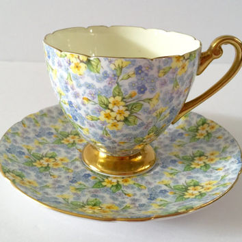 Vintage Shelley Chintz Tea Cup & Saucer Primrose Pattern Ripon Shape
