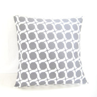 Organic Cushion Cover, Organic Cotton Pillow, Geometric Gray Pillow Cover