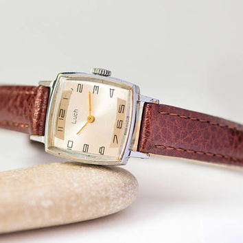 Vintage watch for women square small, lady watch Ray retro, girl's watch minimalist, silver shade watch unique, new premium leather strap