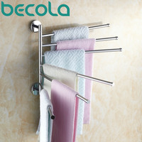 Shipping Becola Bathroom Accessories Folding Movable Bath Towel Bars Surface Chome Towel Racks B-88005