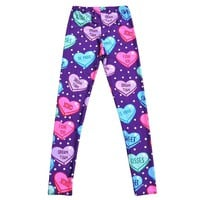 Candy Hearts Sweethearts Print Polka Dot Legging Pants for Women in Purple