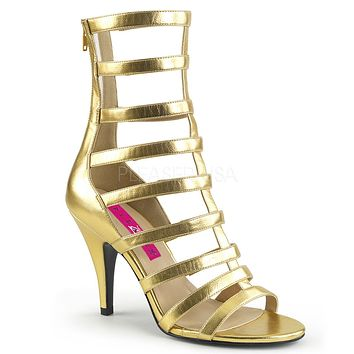 "Dream 438 Gold Matte Strappy Sandals - 4"" Heels"