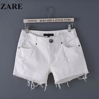 Summer Women's Fashion High Rise Slim Denim Pants Shorts [6034328897]