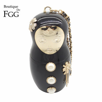 Famous Brand Russian Doll Women Fashion Handbags Beaded Evening Bags Acrylic Clutch Bag Ladies Party Dinner Handbags and Purses