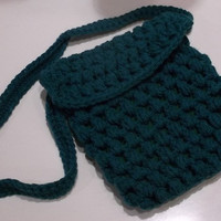 Trendy Blue and Green Shoulder Bag, Crochet