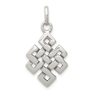 925 Sterling Silver Antiqued Square Celtic Knot Charm and Pendant