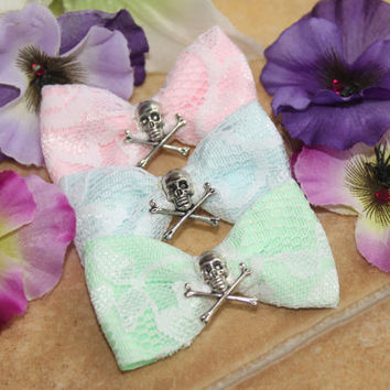 GOREgeous , Kawaii Glam Pastel  n Lace Skull  Hair Bow, Gothic, Scene, Hispter, Handmade By: Tranquilityy