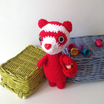 Valentine's Day Gift Idea Amigurumi Ferret Crochet Ferret Valentine Red Heart Stuffed Animal Toy Ferret Kids Toy Kawaii Ferret Plush
