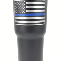 Thin Blue Line - personalized 30 oz Custom Powder Coated Tumbler - (Logo is SEALED)