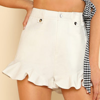 Pocket Front Ruffle Hem Shorts -SheIn(Sheinside)