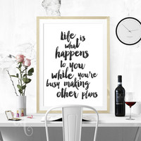Wall art decor Allen Saunders quote, minimalistic typography giclée print