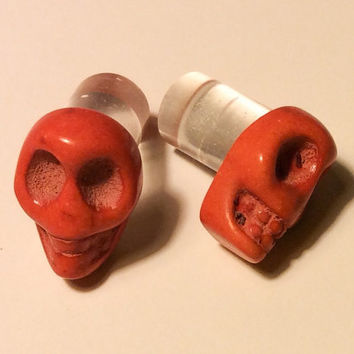 00g, 0g, 2g, 4g, 6g, 8g Pumpkin Orange Carved Howlite Sugar Skull Plugs Día de Muertos Halloween All Hallows Eve Gothic Spooky
