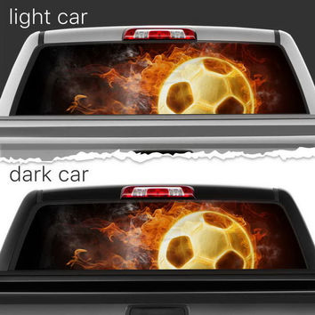 Perforated Vinyl Decal Rear Window Car Fire Soccer Ball N090 FRST