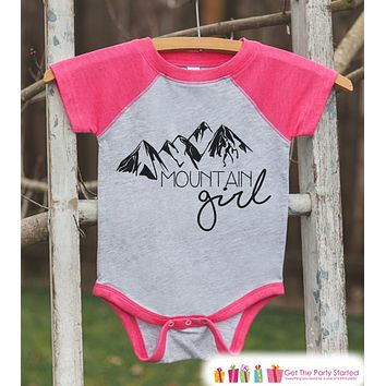 Girl's Mountain Girl Outfit - Pink Raglan Shirt or Onepiece - Kids Baseball Tee - Hiking Shirt for Baby, Toddler, Youth - Mountains Shirt