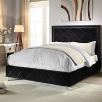 Hampton Black Velvet King Bed