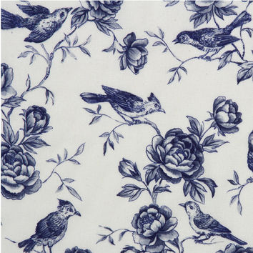 Legacy Studio Fabric-White Bird Etch Blue Yardage F2027