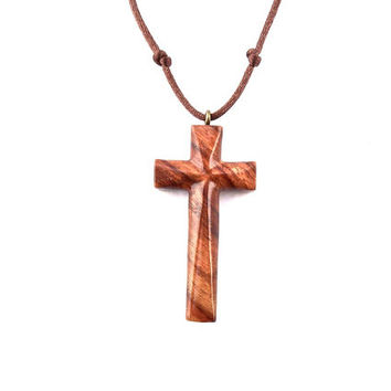 Wood Cross Necklace, Mens Wood Cross, Men Cross Necklace, Wooden Cross Pendant, Christian Jewelry, Wooden Cross Mens, Hand Carved Cross