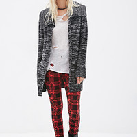 FOREVER 21 Oversized Marled Knit Cardigan Black/Cream