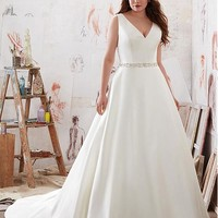 [188.99] Fashionable Tulle & Satin V-Neck Plus Size A-Line Wedding Dresses With Embroidery & Beadings - dressilyme.com