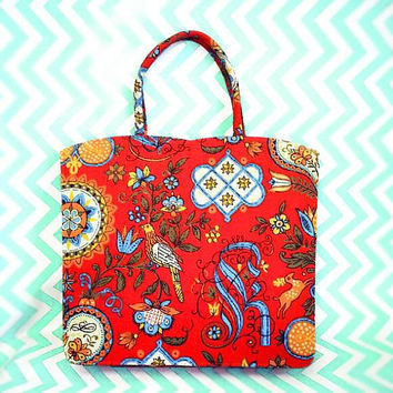 Vintage Margaret Smith Bag Red Birds tote boho 60s paisley tote linen print fabric hippie flower child bird dove gardiner maine me crimson