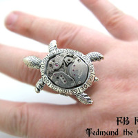 Steampunk Turtle Adjustable Ring Watch Movement