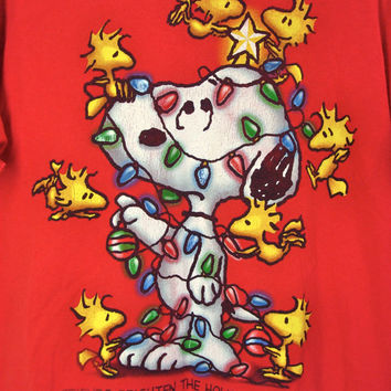 Vintage Ugly Christmas Tee Shirt Snoopy Peanuts Oversized Tshirt