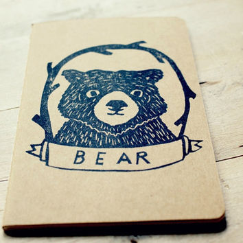 Bear Cub Animal Lined Notebook Moleskine Journal Hand Carved Stamp Kids Children Stocking Stuffer