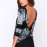 Only in Retro-spect Black Tie-Dye Top