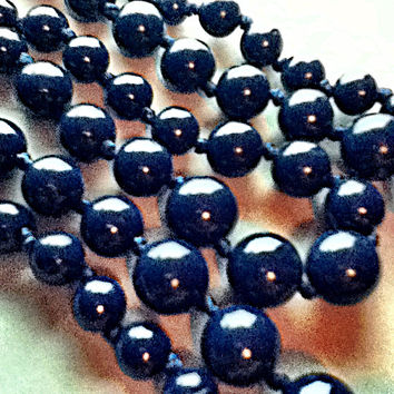 Nearly 135 Navy Blue Beads Triple Strand Nested Necklaces Fashion Arts Crafts Knotted Women's Teens Girls Tweens Gift Christmas