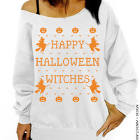 Halloween Shirt - SALE - Happy Halloween Witches - White with Orange Slouchy Oversized Sweatshirt