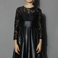 Floral Lace Faux Leather Midi Dress Black M