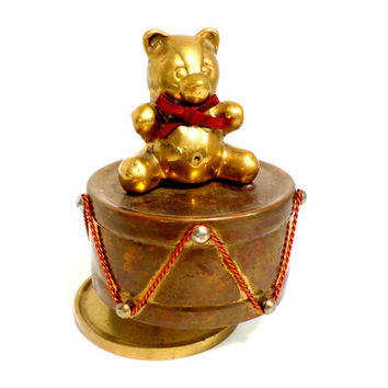 Vintage Childs Music Box, Brass Teddy Bear and Drum Music Box, Rotating Bear Music Box, Brass Music Box, Aged to Perfection