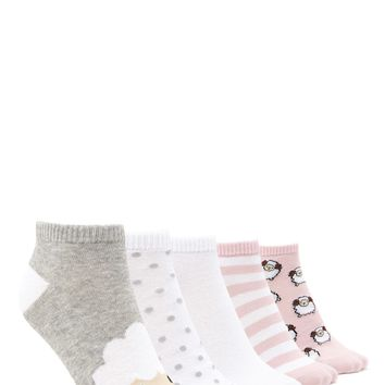 Ram Print Ankle Socks - 5 Pack