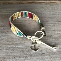 Nautical Bracelet, Striped Design, Seed Bead Bracelet, Anchor Bracelet, Leather Wrap Bracelet, Anchor Your Dreams