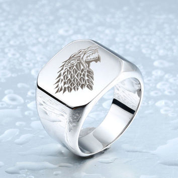 A Song Of Ice & Fire Game Of Thrones House Starks Winterfell Wolf Ring