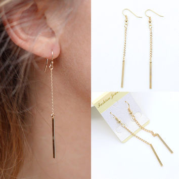 Ear Studs Ladies Simple Elegant Metal Tassels Stylish Earring Geometric Fashion Earrings = 4806925188