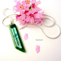 Shades of Spring Handmade Fused Dichroic Glass Jewelry Pendant