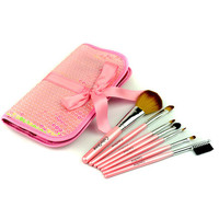 Pink Canvas Synthetic Fibers 7 Pieces Makeup Brush Sets