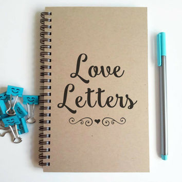 Writing journal, spiral notebook, cute diary, small sketchbook, scrapbook, memory book, 5x8 journal - Love letters, romantic gift, love