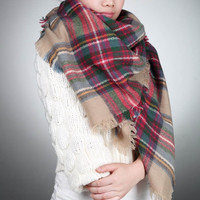 Women Oversized Blanket Tartan Scarf  Wrap Shawl Plaid Cozy Faux Cashmere = 1958128708