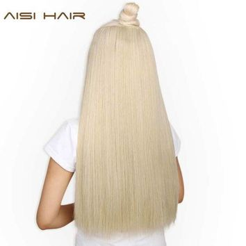ac ICIKO2Q AISI HAIR 22 inch(55cm)  Long Straight Women Clip in Hair Extensions Black Brown High Tempreture Synthetic Hairpiece