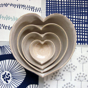 4 nesting hearts ready to ship pottery ceramic bowls dish 4 3/4 inches