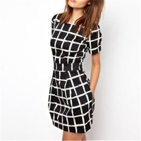 Summer Style Women Dress Fashion Casual O Neck Short Sleeve Plaid Mini Dresses Office Work Wear Vestidos de festa S M L