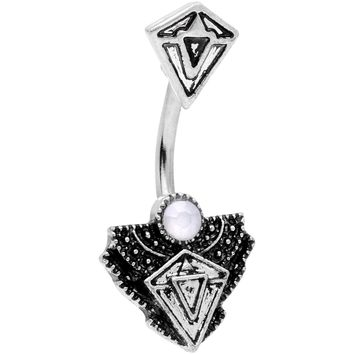 White Faux Opal Art Deco Triangle Double Mount Belly Ring